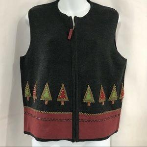 Woolrich Cotton Christmas Vest Full Zip Beaded L
